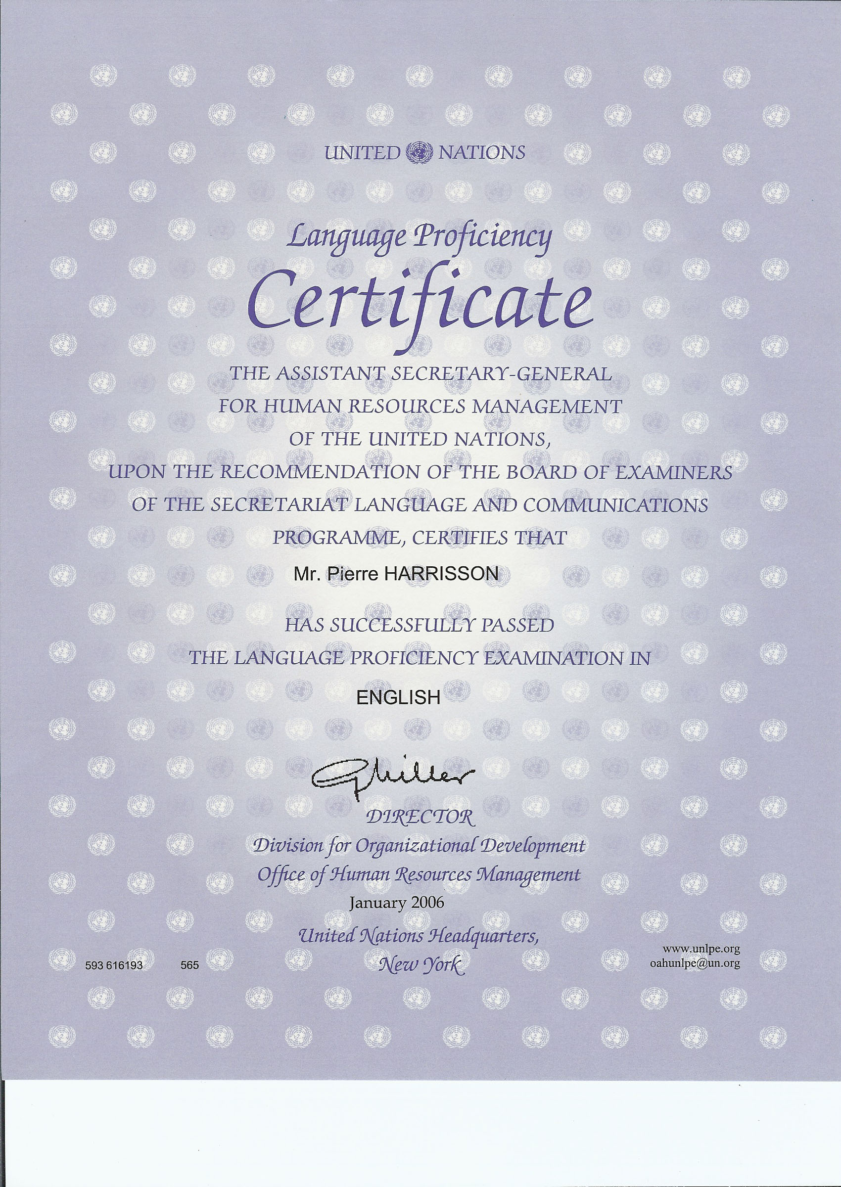 certificat anglais